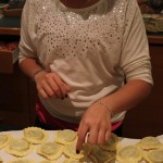 Brianna counts the ravioli. 81 plus a few for good luck.