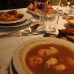 Bouillabaisse, stuffed peppers, potatoes (goose fat and mashed), and cheese bread were the main course.