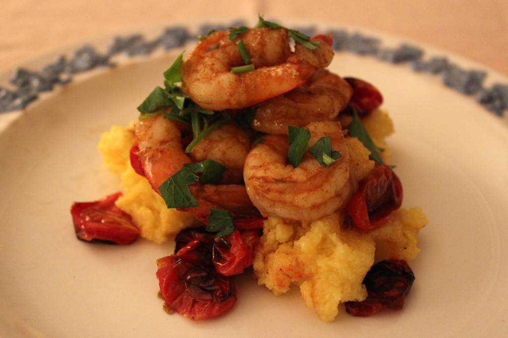 Polenta with tomatoes and shrimp – the steady table