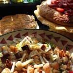 Escarole & white bean salad & strawberry shortcake