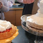 Preparing the desserts, Strawberry Shortcake & Candied-Pecan Cake with Brown-Butter Pears