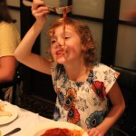 05. Rose and her all time favorite, spaghetti with one giant meatball.
