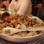 Pasta with fresh clams.