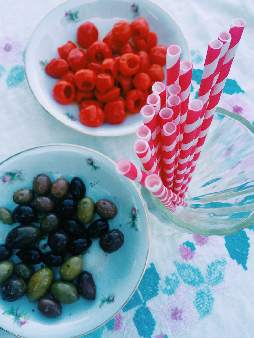 Olives and pretty straws